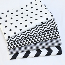 White Black Dot Wave Grid Style Diy Patchwork Cotton Fabric Fat Quarters Sewing Craft Home Textile Fabric For Dog Clothes Bags(China)