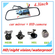 Free shipping 2 in 1 special auto rearview camera +4.3inch mirror monitor back up parking system for Toyota Honda Nissan March
