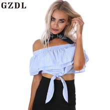 GZDL Fashion Blue Striped Summer Women Party Crop Tops Sexy Off Shoulder Fitness Slash Neck Ruffles Club Blouses Blusas CL3879