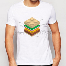 2017 New Arrivals Men's Fashion LEGO Burger T shirt Hipster Tops custom  Tees
