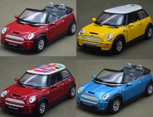 Candice guo alloy car model 1:28 mini cooper S roadster flag pattern vehicle motor pull back Christmas present birthday gift 1pc