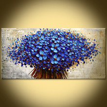 Flower Hand Painted wall Picture quadros palette knife abstract oil painting canvas Art modern Home cuadros decorate living room(China)