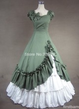 Custom Made Green and White Sweetheart Cotton  Prom Gothic Victorian Dresses Costume Free Shipping