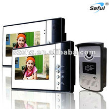 2016 Luxury beauty panel 7''wired high clear video door phone intercom system with ID card doorbell camera for villa apartments