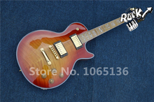 Chinese Custom Shop LP Guitar Tiger Flame Fretboard Maple Neck Globe Logo on Headstock
