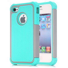 For iPhone 4 4S Case,WEFOR Hybrid Dual Layer Protective Case Cover with Hard Plastic and Soft Silicone for iPhone 4S & iPhone 4(China)