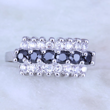 Fashion Black imitation Onyx & White Cubic Zirconia 925 Stamp Silver Color Ring for Women's H0252 Size 5/6/7/8/9/10