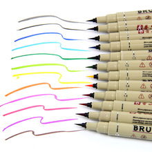 12 Colors Art Market Pens Fineline Drawing Painting Waterproof Anime Comic Calligraphy Gel Brush Sketch Pencil Chancery Supplies(China)