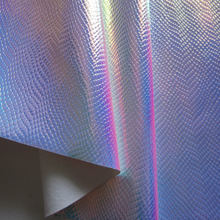 30 x 134cm Iridescent PU leather holographic fabric waterproof surface snake synthetic leather material BH053