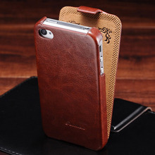 Retro Flip PU Leather Case for iPhone 4 4S Luxury Phone Bag Cover with Fashion Logo Coque For iPhone 4 4S Cases Black Brown(China)