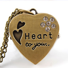 """Heart to you"" Miss YOU Sweet Heart Bronze Pocket Watch Crystal Pendant Necklace Women Lady Girl Gift P74"