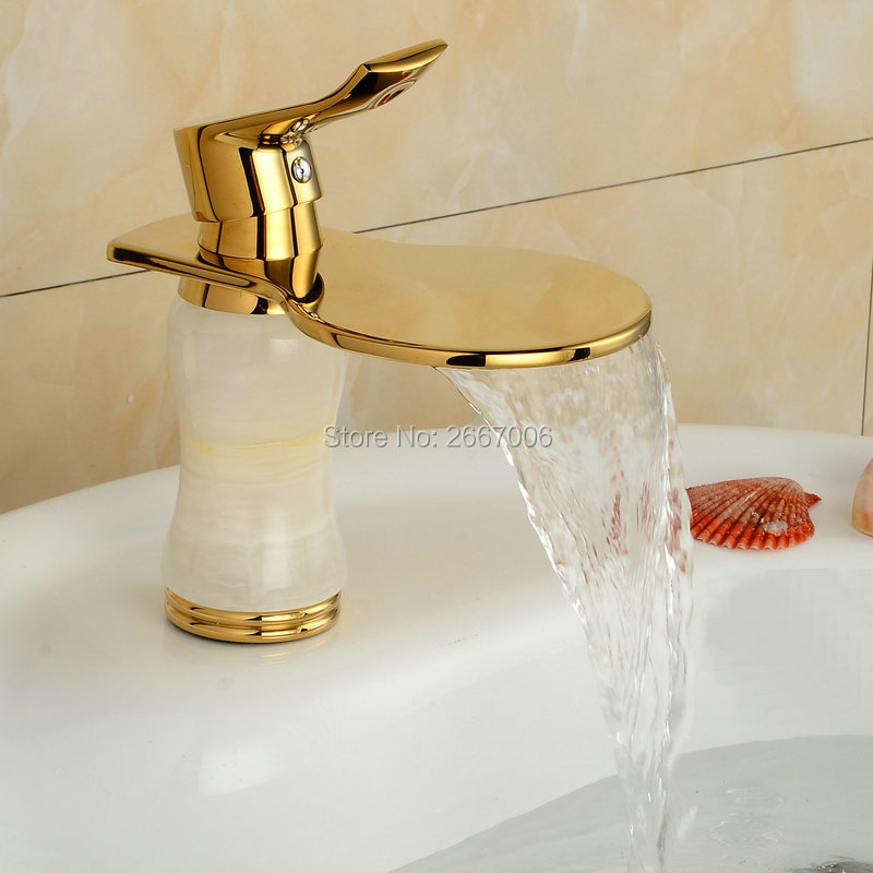 Free Shipping Discount Cheap Waterfall Faucet Gold Plate Basin Tap Marble Stone Mixer Tap Bathroom Faucet Deck Mounted Tap ZR801(China (Mainland))