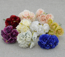 6pcs/lot silk flower Rose Artificial Flowers For Wedding Car Decoration wedding  bride wrist flower Pompom Wreath Decorative