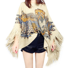 2017 autumn winter vintage eagle head leopard print pullover knitted cape poncho with tassels fringed sweater