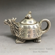 Silver - plated white copper dragon pot Decoration kettle teapots copper pot decorative gifts antique collection