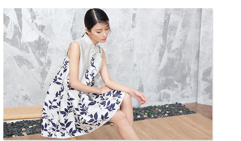 new Chinese style cheongsam dress summer retro ladies printing plate buttons costume dress large size women pregnant Maternity<br><br>Aliexpress