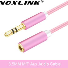 3.5MM Male to Female Audio Extension Cable 1M 3.5 Jack Colorful Nylon Stereo For Headphone Car/PC M/F as VOXLINK AUX Cable Cord(China)