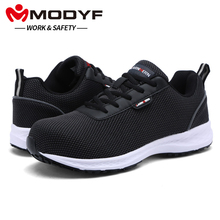 MODYF Men Work Anti-static Safety 화 강 Toe Shoes Arch 지 Comfy Insole 경량 숨 반사 Sneaker(China)