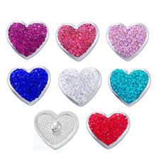 DoreenBeads Alloy Snap Buttons Silver Tone Heart Fuchsia Pink Red Blue Rhinestone Fit Snap Button Bracelets 23 x 21mm 1 PC