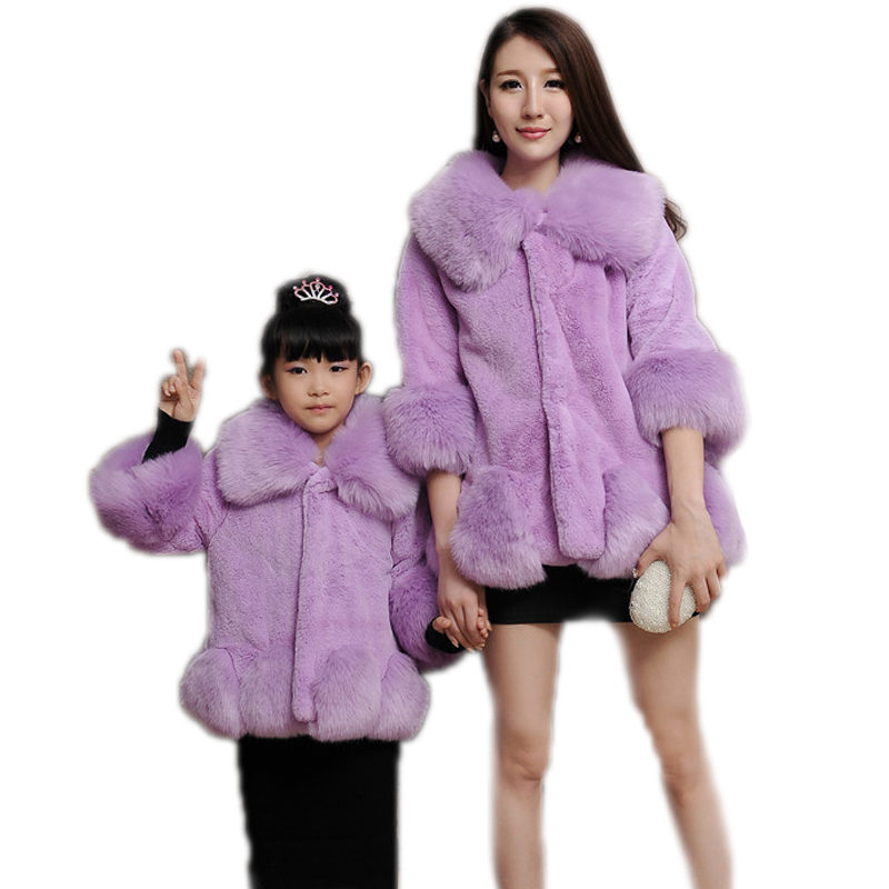 mother and daughter clothes winter 2016 new winter fuax fur family matching clothes medium long matching family faux fur coats<br>