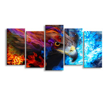 5 pieces high-definition print eagle fire sky canvas painting poster and wall art living room picture YF-001(China)