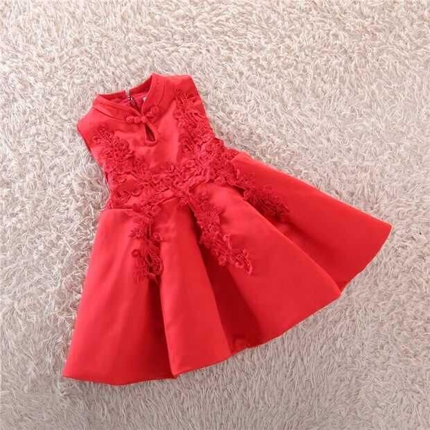 Girls dress new winter children vest dress red cheongsam dress costume princess dress Ma Jiaqun<br><br>Aliexpress