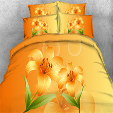 European Cotton 3d floral Bedding sets Twin/Queen/King Sizes Bed Linen Orange Comforter Cover Full 4/3 Pcs Woman Girl Pillowcase(China)