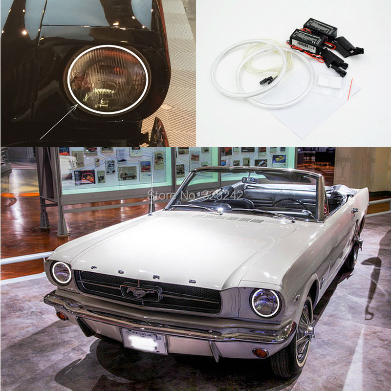 For Ford Mustang 1964-1973 7 Headlamp Excellent angel eyes Ultra bright headlight illumination CCFL Angel Eyes kit Halo Ring<br><br>Aliexpress
