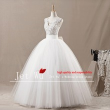 2016 New Real Natural Tank Sample Noble Ball Gown Appliqued Shoulder Strap Tulle Skirt Wedding Dress With Back Manufacturer 7010(China)