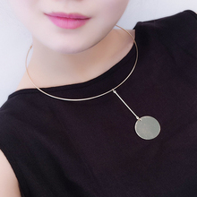 2016 New Statement Gold Silver Color Choker Necklace Women Round Pendant Chain Women Neck Collars Fashion Jewelry Gift XX43(China)