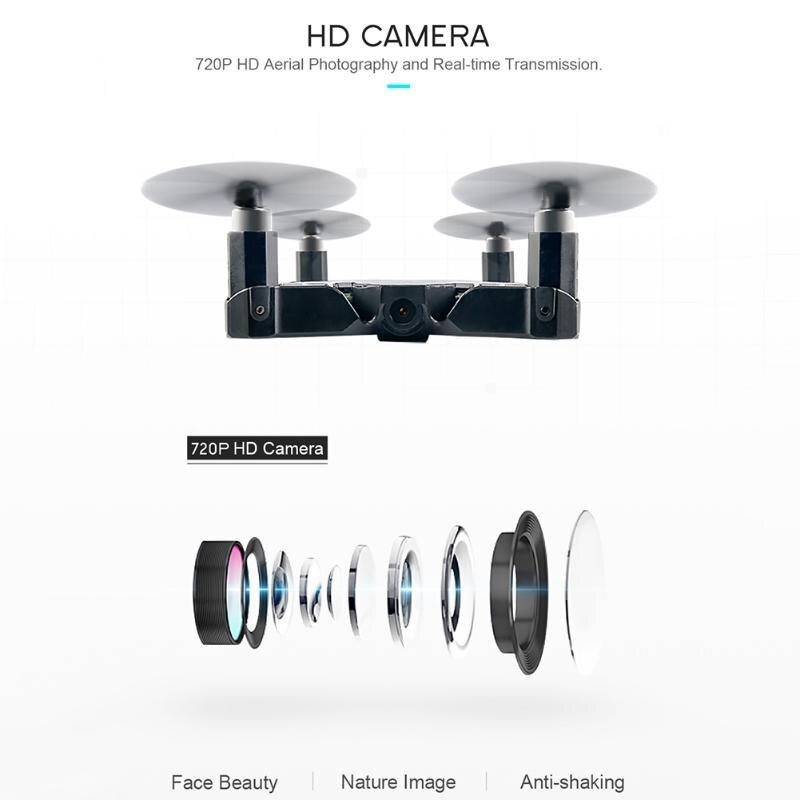 Black JJRC H49 Wifi FPV 720P HD Camera Ultra-thin Foldable Mini Size Drone Gravity Sensor Altitude Hold Foldable Quadcopter