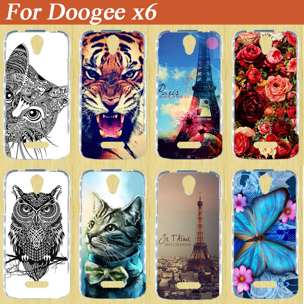 Original Cartoon Protective Skin TPU Case For Doogee X6 Special Design doogee X6 Beautiful Rose Flowers Stand Function tpu case(China)