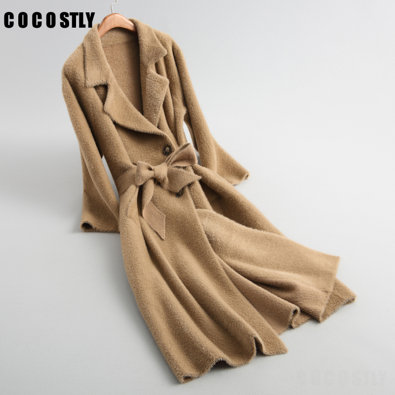 Winter coat women long warm knitted coat cashmere coat waist belt sleeve long coat manteau femme hiver