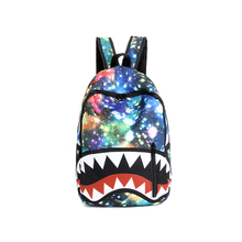 2016 men and women galaxy backpack shark teeth printing book bag japanese school bag for campus students casual travel bag