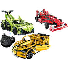 new 3 models Educational model technology machinery series 3D blocks remote control super sports racing car assembles toy drive(China)