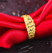 2017 new design 3D engrave 24K Gold rings for Women men Gold Color Dubai Bride Wedding Ethiopian  Africa alliance wholesale