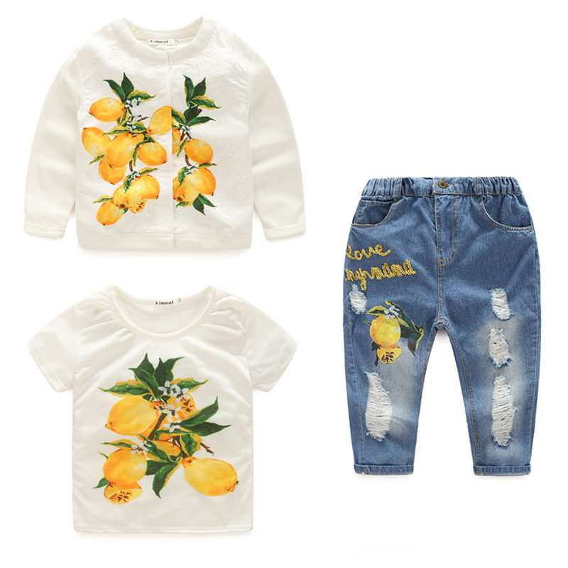 Lovely girls lemon jacket +white printed t shirt +sequined hole jeans 3pcs set fashion autumn princess party clothing  17J701<br>