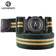 [LCY] Western Designer Men Fashion Casual Canvas Belt High Quality Knitted Metal Buckle Military  Belts For Men LB092