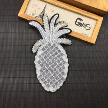 Beaded Silver Pineapple Patch Fruits Applique Ananas Sew On Patches For Clothing Handmade Appliques Parches 10x18cm AC0937