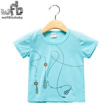 Retail 1-4 years baby T-shirt short-sleeves with o-neck cotton for summer Line stripe printing