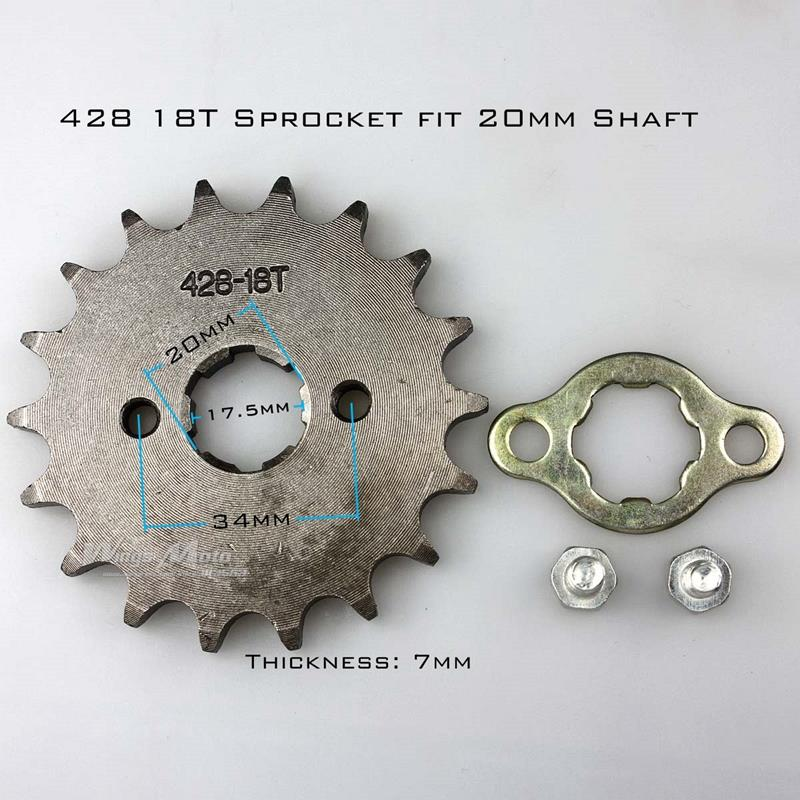 Front Sprocket 428-18T 20mm 428 Size 18 Teeth Sprocket for Motorcycle ATV Dirtbike(China (Mainland))