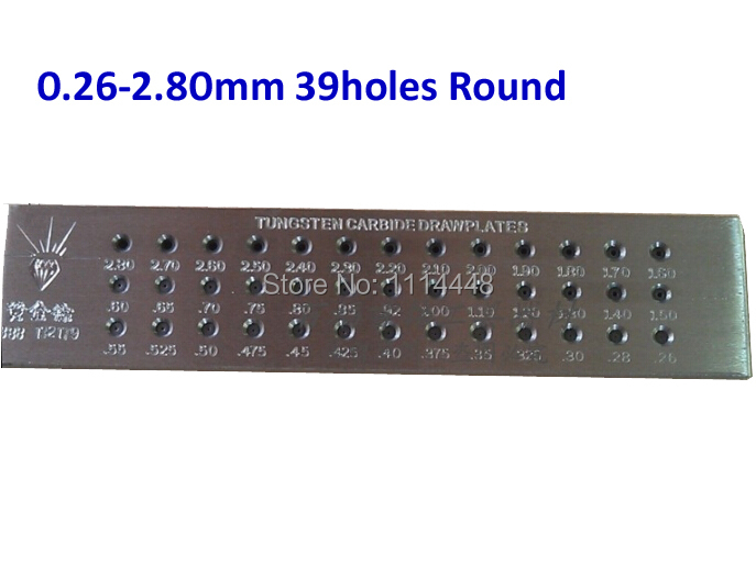 Tungsten Carbide Wire Drawplate for Jewelry Making Tool Round 0.26-2.80mm 39 Holes<br>