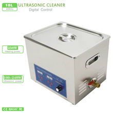 10L Ultrasonic Cleaner 100W-240W Adjustable power digiatl heated and timer Ultrasonic cleaner PS-40AL free basket AC 110V/220V(China)