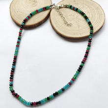 Fashion Natural Stone Jewelry Elegant Wheel form Rubies Beaded Chain Choker Necklace 45cm Handmade Green Blue Gems Necklace 2017