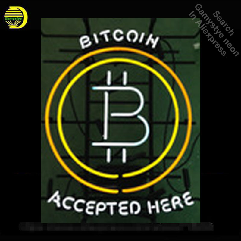 Bitcoin Accepted Neon Sign neon bulb Sign Neon light Sign glass Tube Beer Pub Handcraft Commercial Iconic Sign Neon lights