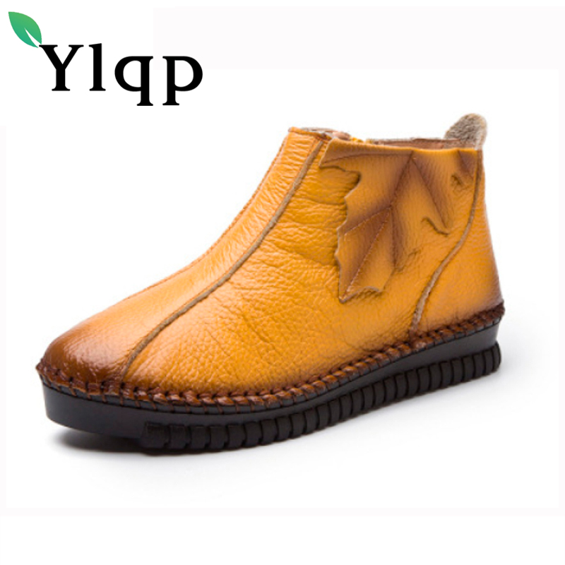 Ylqp 2017 Winter Leisure Handmade Retro Ankle Genuine Leather Shoes Vintage Cowhide Soft Warm Short Boots Ladies Sapato Feminino<br>