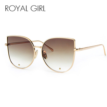 ROYAL GIRL Newest Fashion Cat Eye Sunglasses Women Brand Designer Alloy Frame Sun Glasses  Shades Oculos de sol SS179