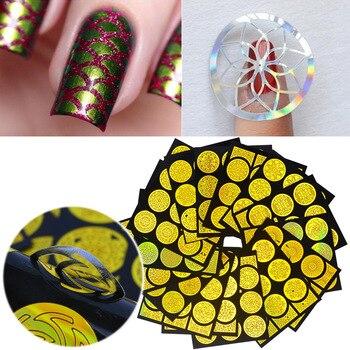 20 Sheets Irregular Grid Nail Art Hollow Laser Golden Template Stencil Stickers Vinyls Image Guide Polish Manicure