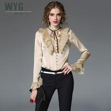 Beige Casual Women Ruffles Blouses 2017 Fall Winter High Quality Korea Sweet Lolita Long Sleeve Bodysuit Blouse & Shirts WYG(China)