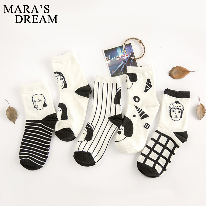 Image Mara s Dream 5pairs=10PCS lot woman character stripes portraits cotton socks for women korea black white plaid short socks